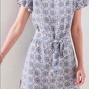 Loft blue and white print dress